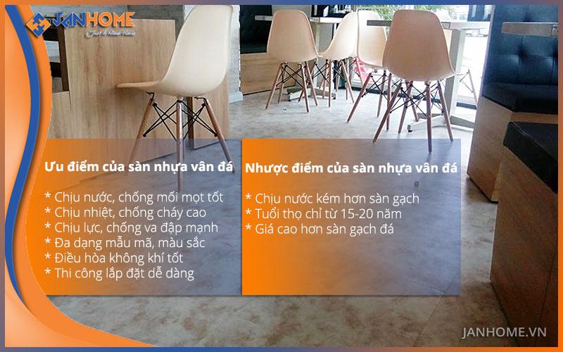 So sánh chất lượng của sàn nhựa vân đá hèm khóa và sàn đá